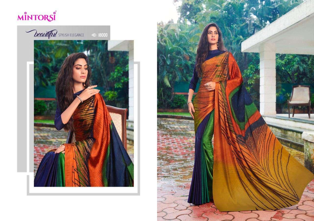 Mintorsi Mor Pankh Satin Satin Silk With Hand Print And Stone Diamond Work Sarees collection 01