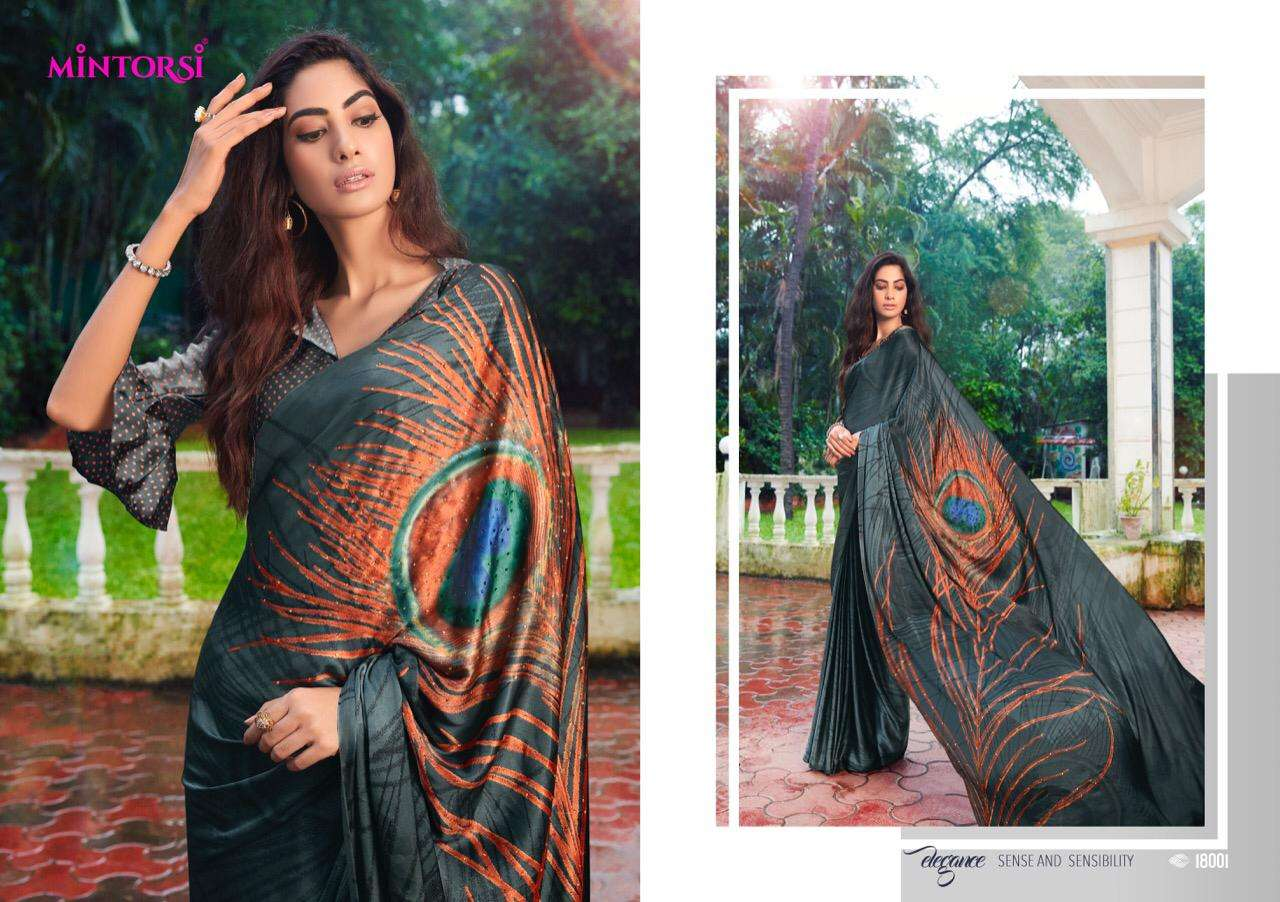 Mintorsi Mor Pankh Satin Satin Silk With Hand Print And Stone Diamond Work Sarees collection 02