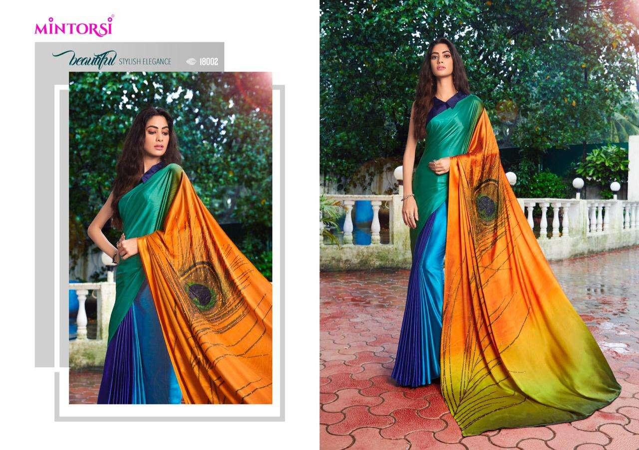 Mintorsi Mor Pankh Satin Satin Silk With Hand Print And Stone Diamond Work Sarees collection 05