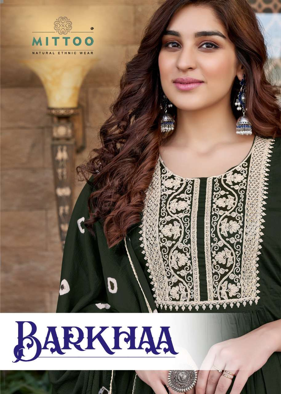 Mittoo Fashion barkhaa Mull Cotton With Embroidery work Kurti With Bottom Dupatta collection