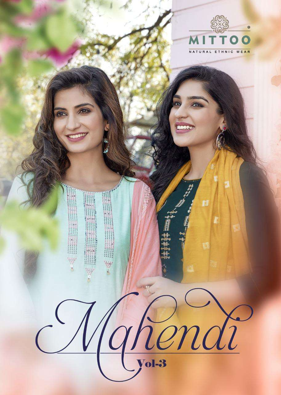 Mittoo Fashion Mahendi Vol 3 Chinon Butti Embroidery Handwork Kurti With pant With Dupatta Collection
