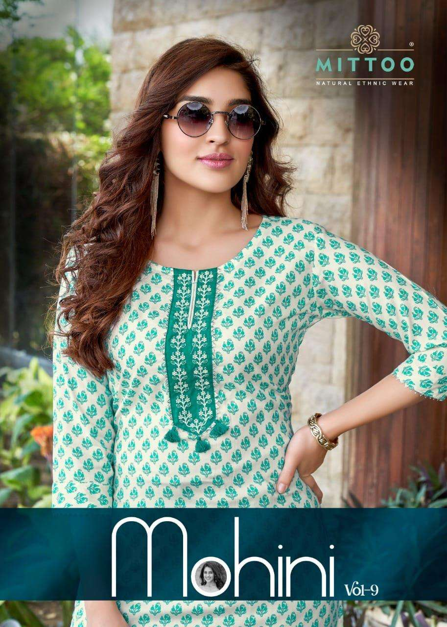 Mittoo fashion Mohini Vol 9 Rayon print With Hand work Kurti With Pant collection