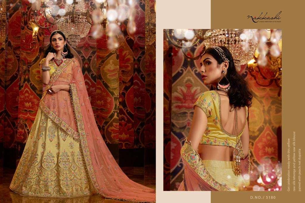 Nakkashi Jashn Raw Silk Designer Wedding Lehenga Choli Collection 123