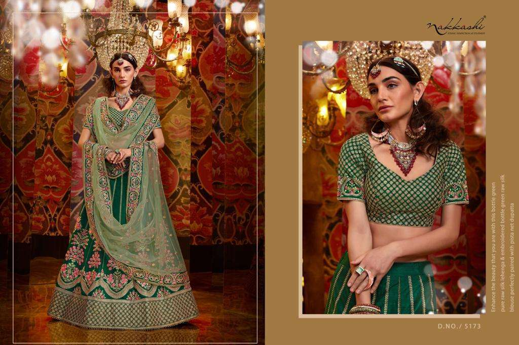 Nakkashi Jashn Raw Silk Designer Wedding Lehenga Choli Collection 5173