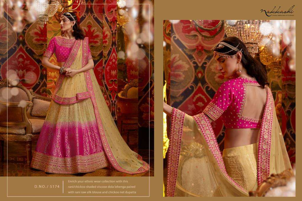 Nakkashi Jashn Raw Silk Designer Wedding Lehenga Choli Collection 5174