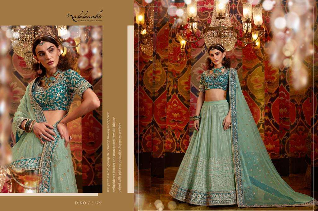 Nakkashi Jashn Raw Silk Designer Wedding Lehenga Choli Collection 5175