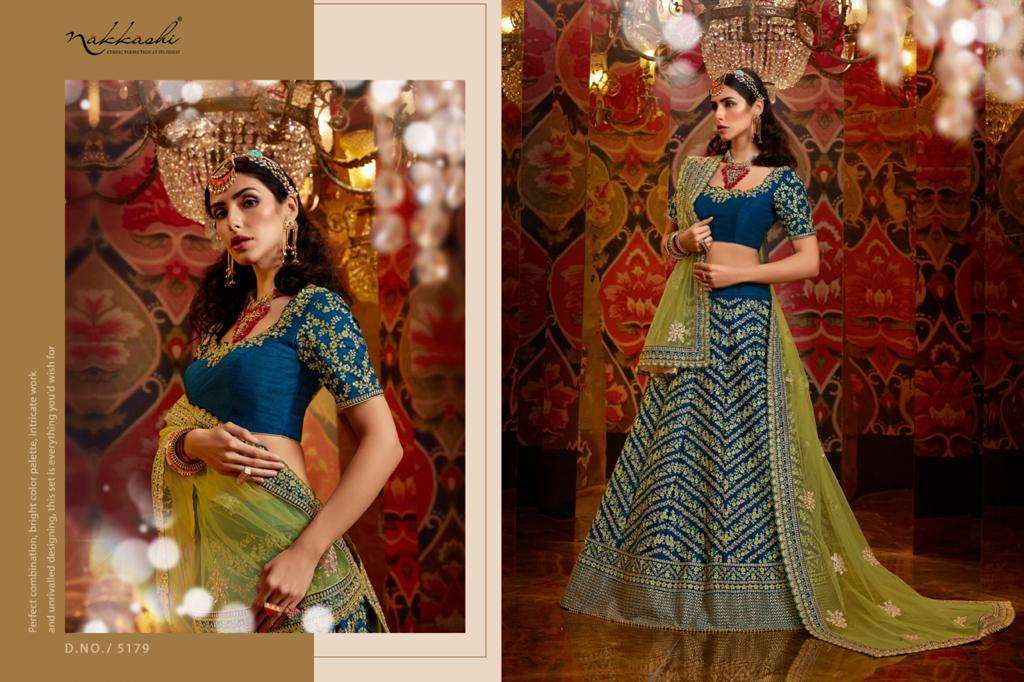 Nakkashi Jashn Raw Silk Designer Wedding Lehenga Choli Collection 5180