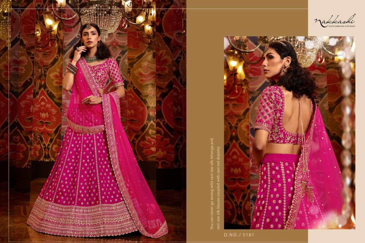 Nakkashi Jashn Raw Silk Designer Wedding Lehenga Choli Collection 5181