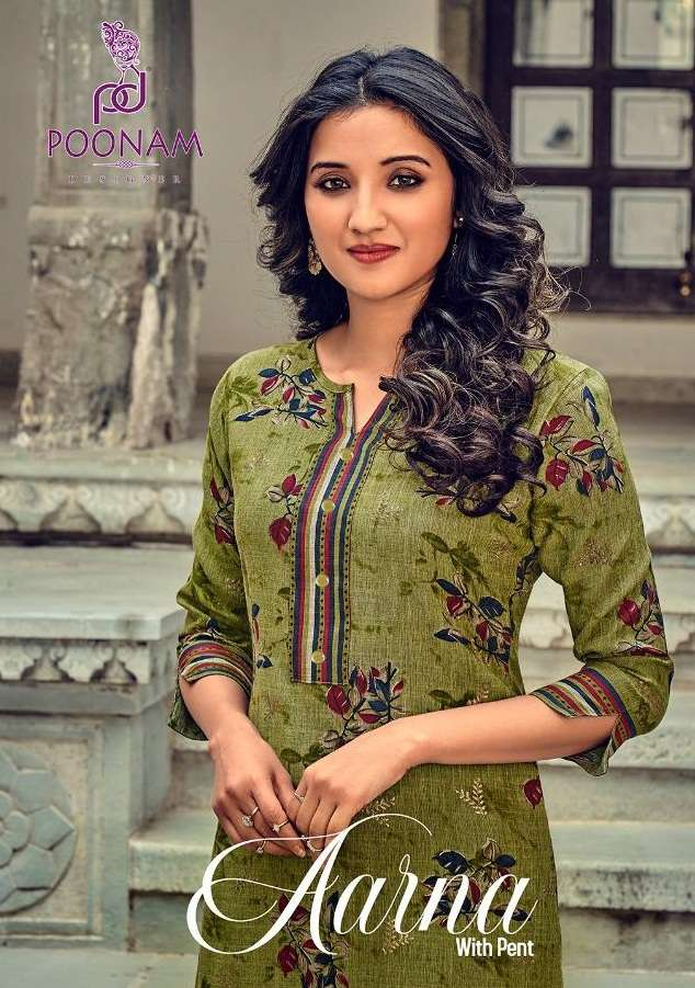 Poonam Designer Aarna Rayon Printed Kurti with Pant Collection