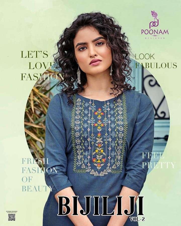 Poonam Designer Bijiliji Vol 2 Cotton with Embroidery Work Kurti collection