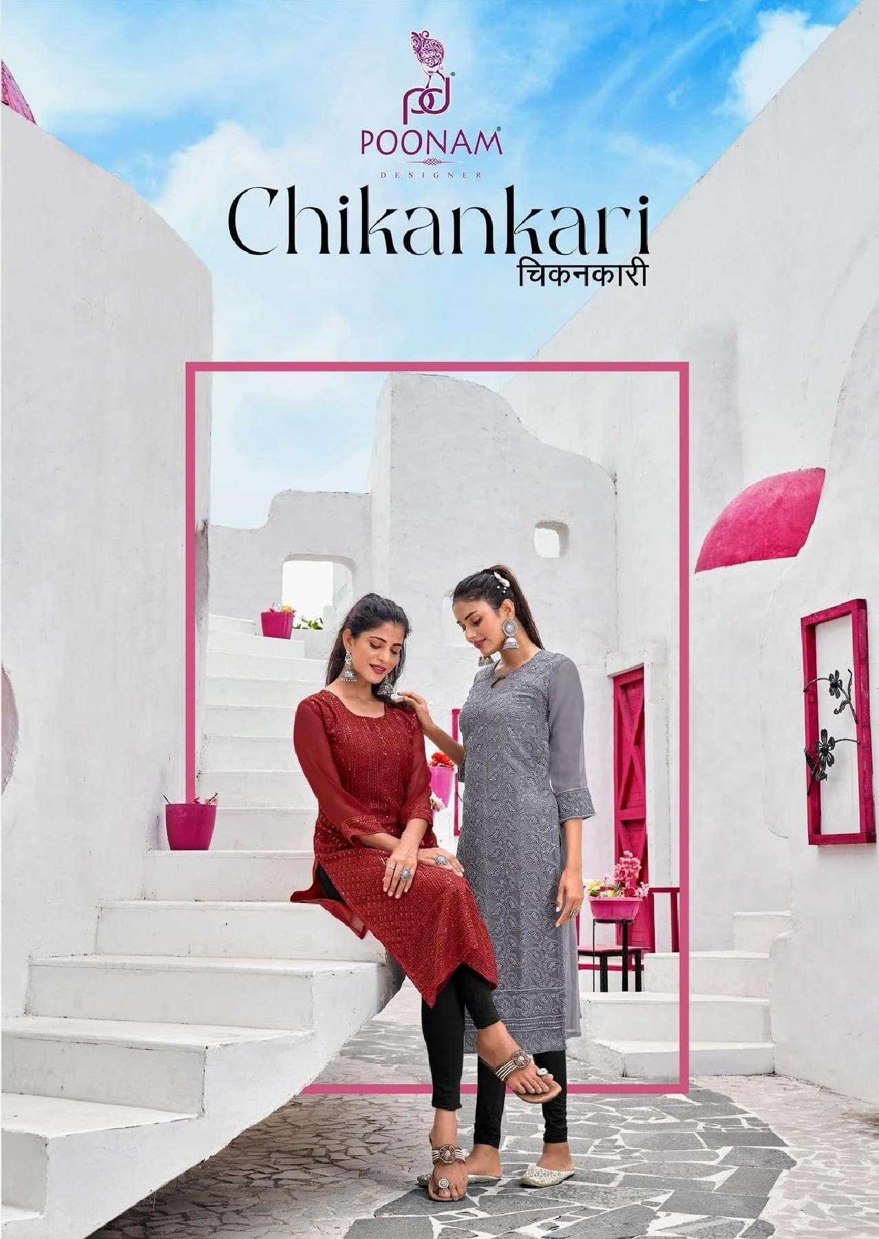 Poonam Designer Chikankari Georgette Chicken Sequence work Kurtis collection