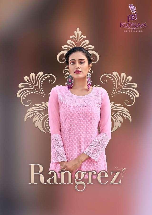 Poonam Designer Rangrez Georgette With chicken Work Long Gown Style Kurtis collection