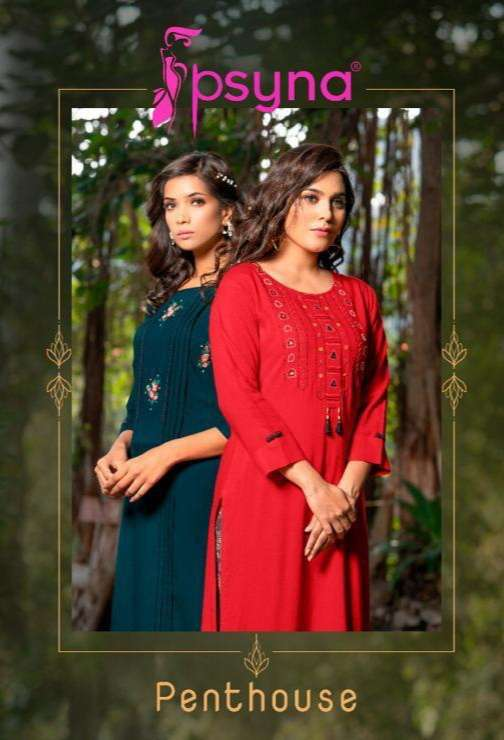 Psyna Pent House Rayon Embroidery Work Kurti With Palazzo Collection