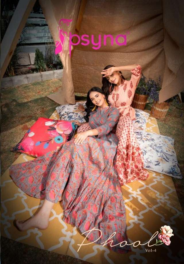 Psyna Phool Vol 4 Cotton cambric Printed Long Gown Style Kurtis collection
