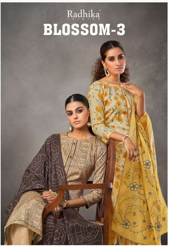 Radhika Fashion Blossom Vol 3 Cotton Print With Foil Print Lace Work Dress Material collection