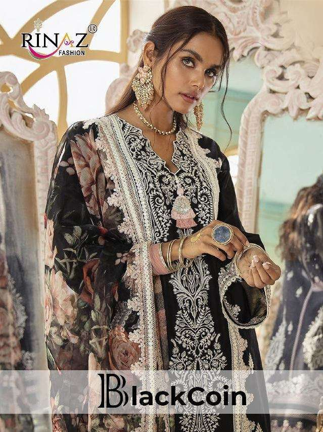 Rinaz Fashion Black Coin Cambric Cotton With heavy Embroidery work Pakistani Suits collection