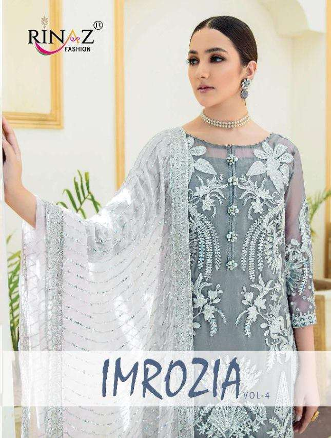Rinaz Fashion Imrozia Vol 4 Faux Georgette With Embroidery Diamond Work Pakistani Suits Collection