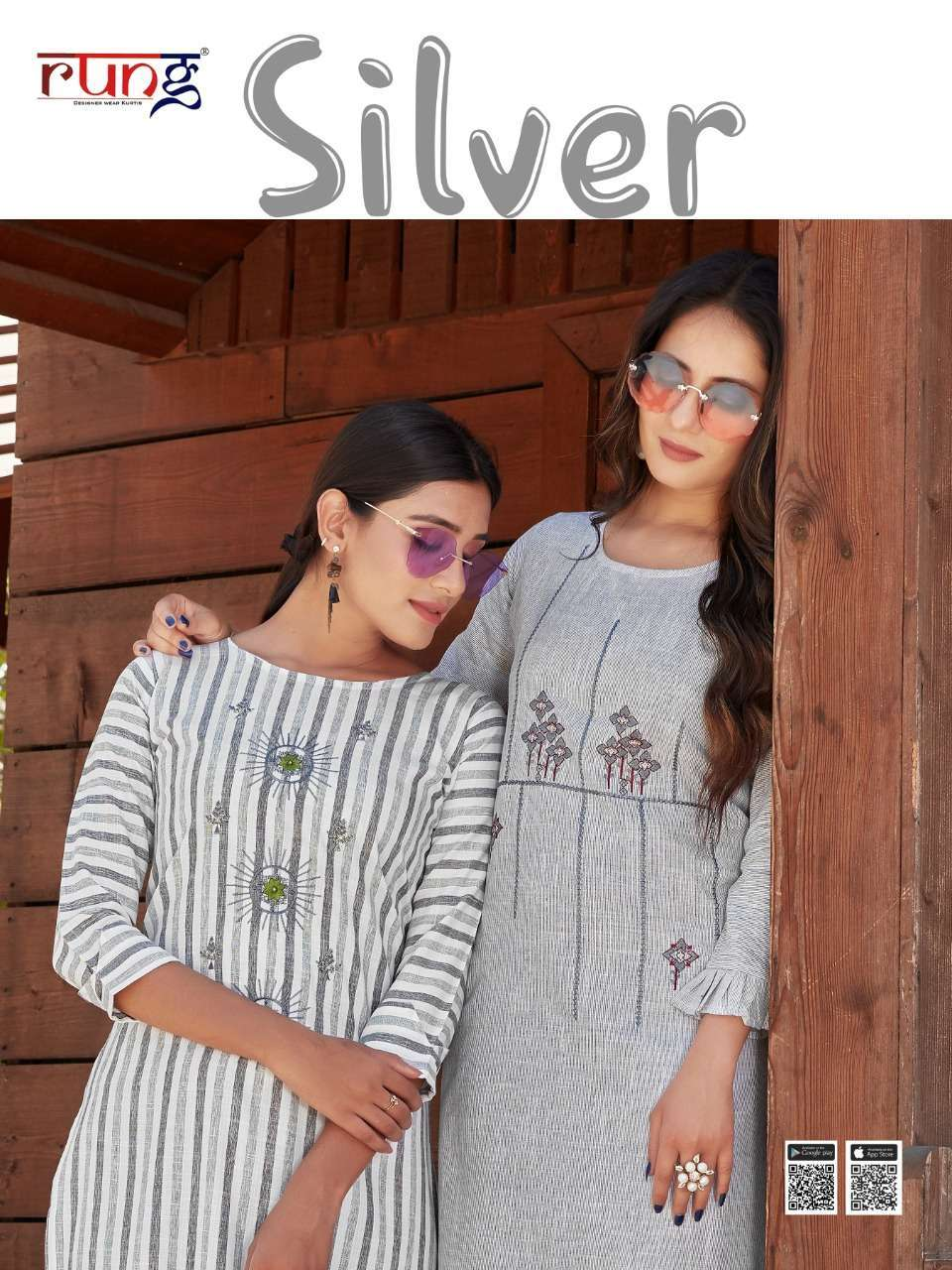 Rung Silver Heavy Viving Rayon Lining With Embroidery Work Kurtis Collection
