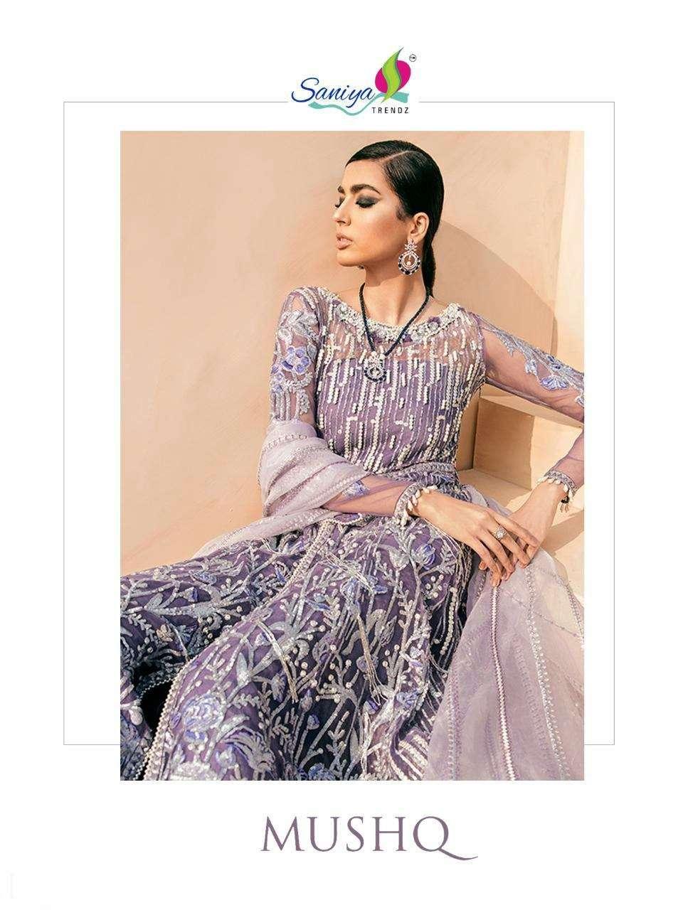 Saniya Trendz Mushq Butterfly Net With Heavy Embroidery Diamond Work Pakistani Suits collection