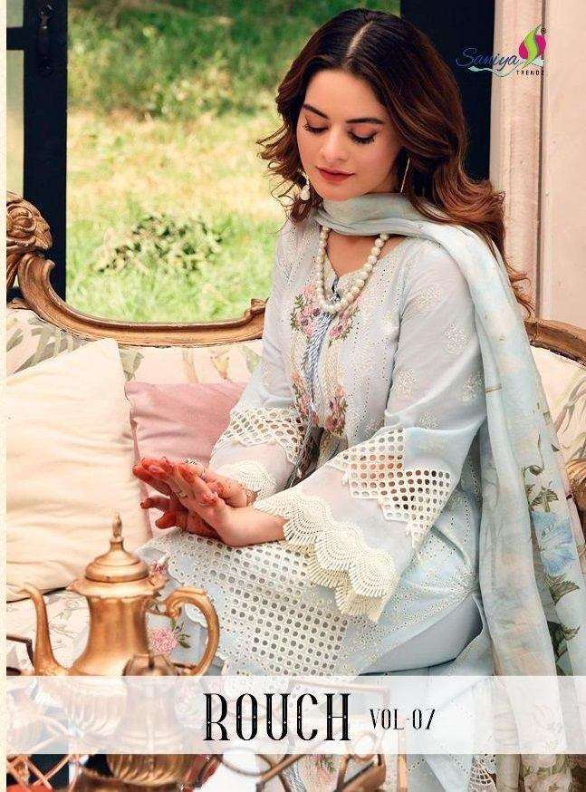 Saniya Trendz Rouch Vol 7 Pure Cambric with Self embroidery Work Pakistani Suits collection