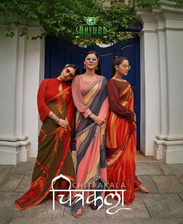 Sanskar Tex print Chitrakala Georgette Printed With Fancy Border Sarees Collection