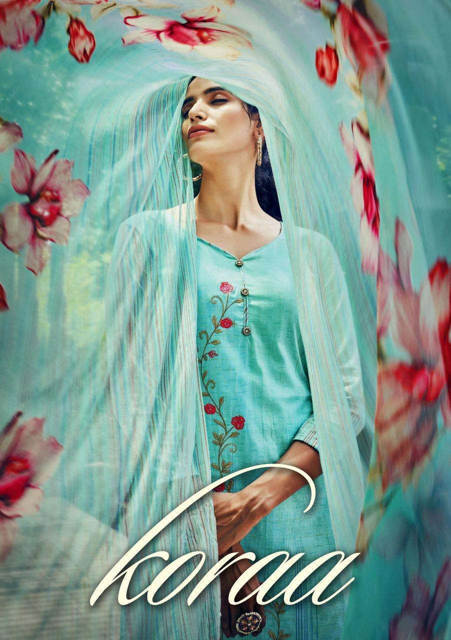 Sargam Prints Koraa Pure Cambric Cotton With Fancy Embroidery Work dress Material Collection