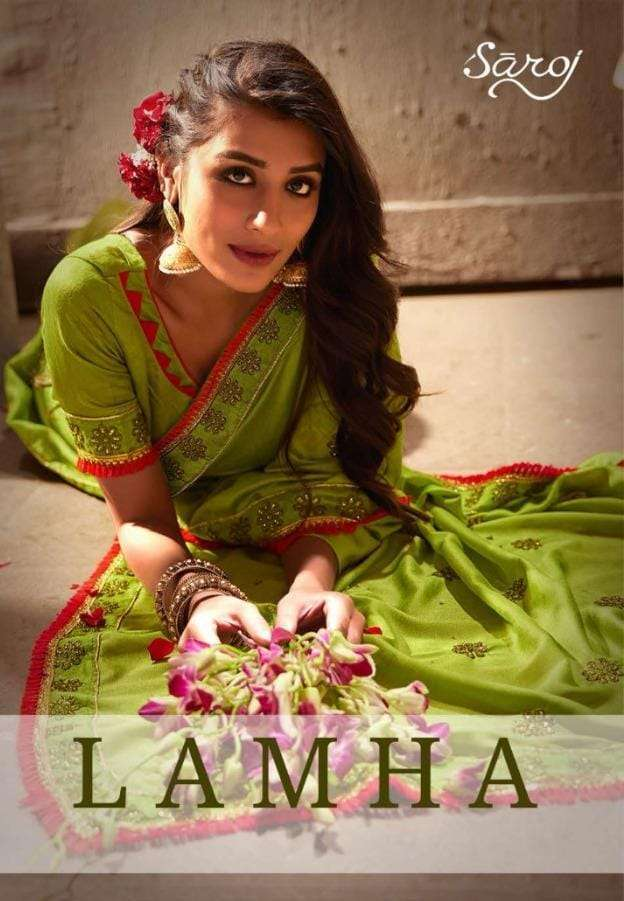 Saroj Lamha Dyed Vichitra Silk With Border Sarees collection