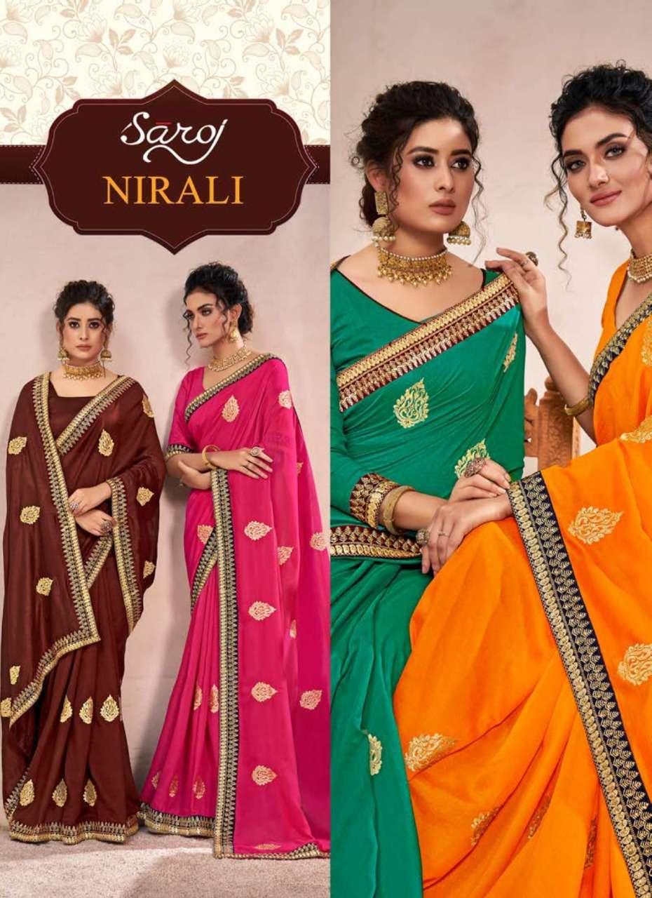 Saroj Nirali Vichitra Silk with lace With Butta Sarees collection