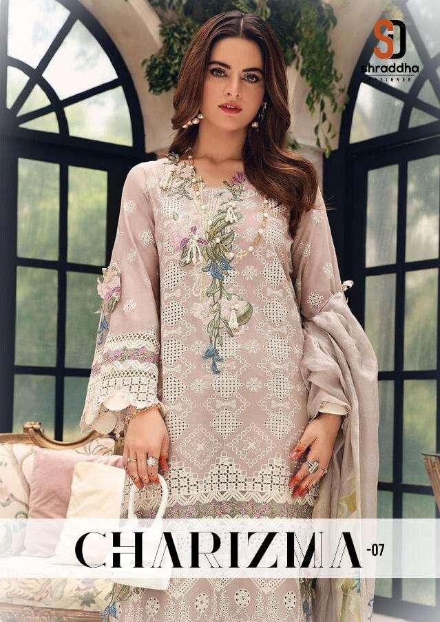 Shraddha Designer Charizma Vol 7 Cambric Cotton With Chicken Work Pakistani Suits Collection