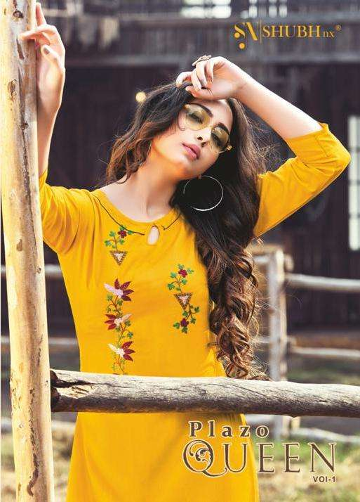 Shubh NX Plazo Queen Vol 1 Rayon with embroidery Work Kurtis collection