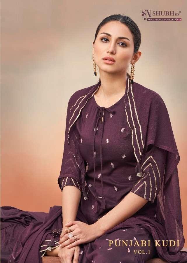 Shubu NX Punjabi Kudi Vol 1 Chinon Silk With Butti Work Sharara Suits collection
