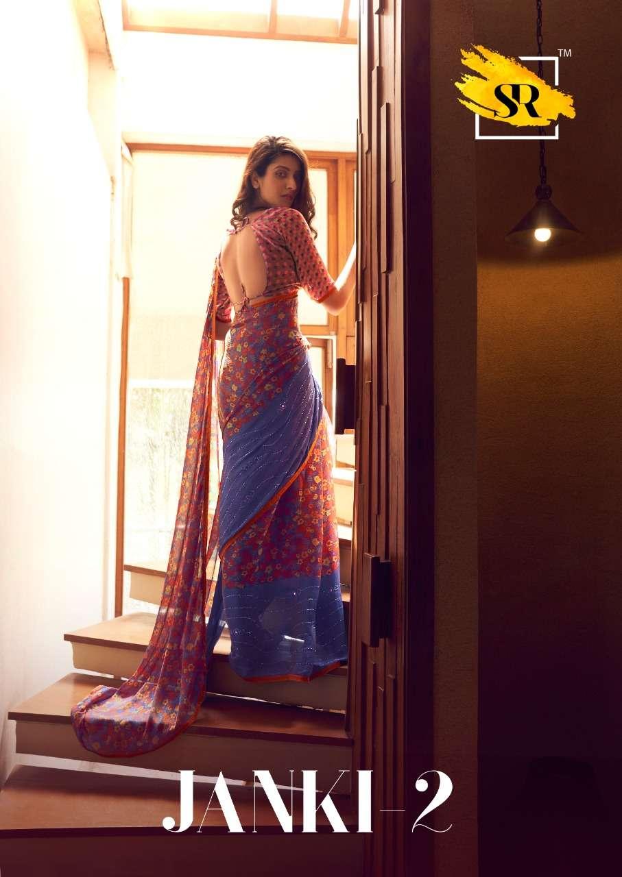 SR Sarees Janki vol 2 3D velvet Chiffon Regular Wear Sarees collection