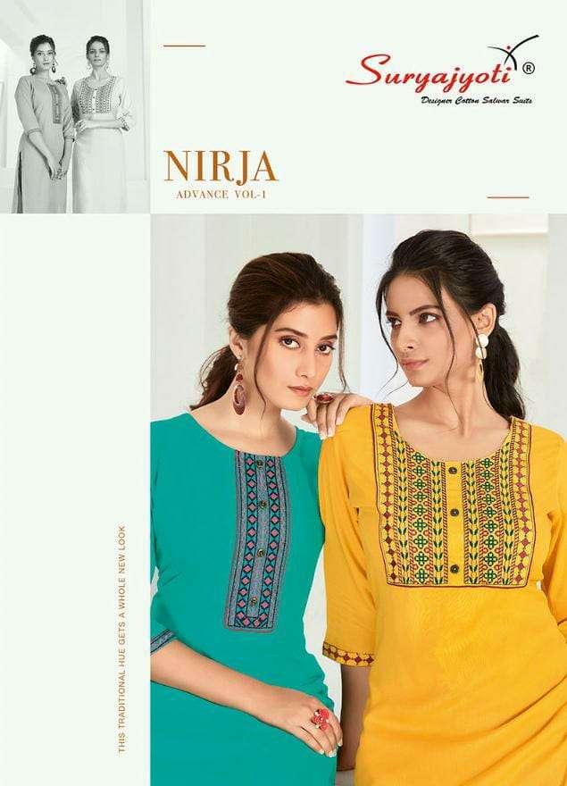Suryajyoti Nirja Advance Vol 1 Rayon Cotton With Embroidery Work Kurtis collection