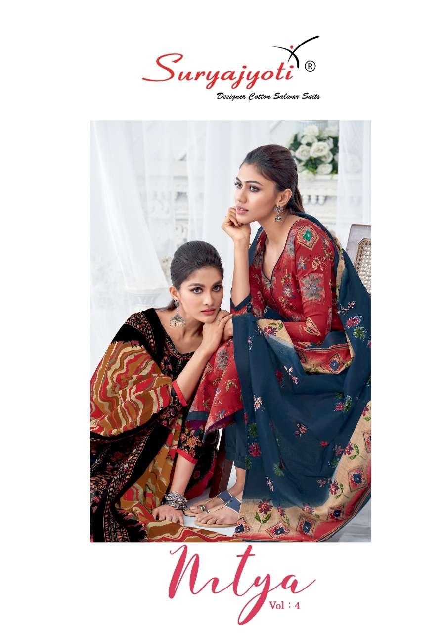 Suryajyoti Nitya vol 4 Satin cotton printed dress Material collection