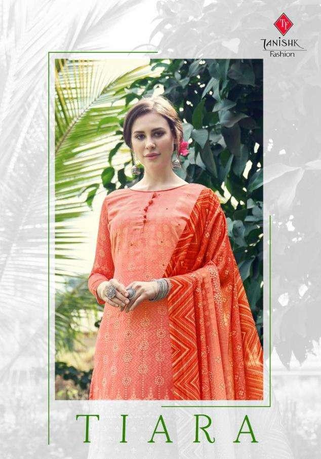 Tanishk Fashion Tiara Jam Digital Print With mirror Hand Work Dress Material collection
