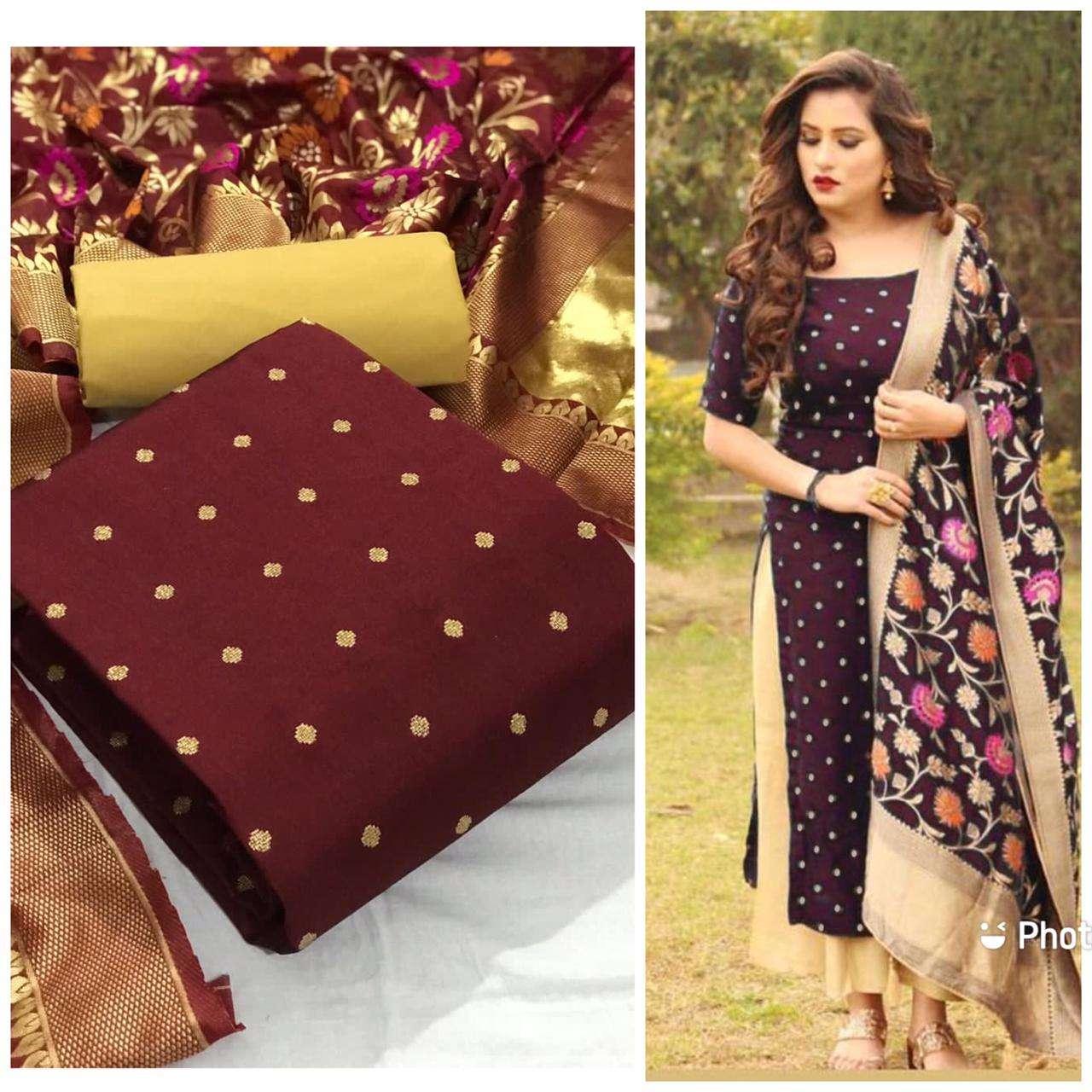 Tapeta Silk Butti With jacquard Minakari Dupatta Dress Material Collection