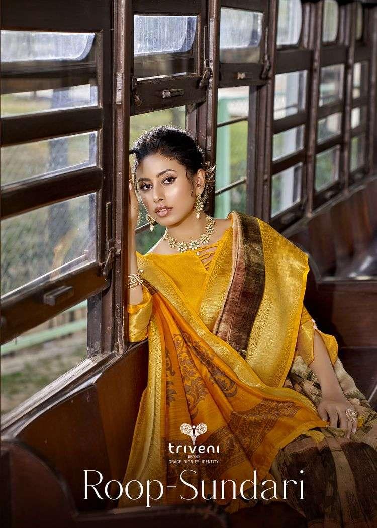 Triveni Roop Sundari Linen Weaving border sarees collection