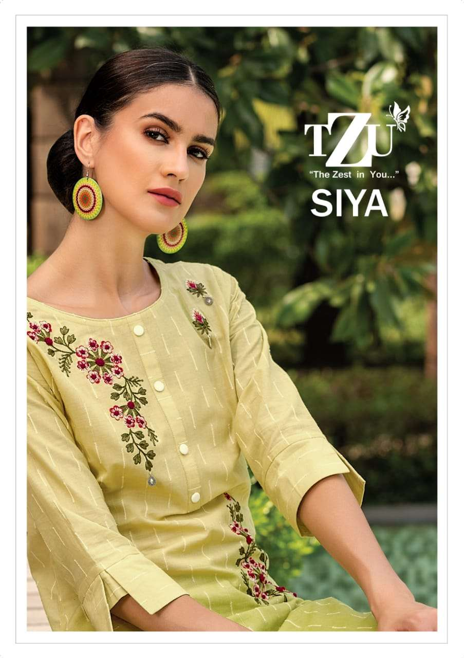 TZU siya Soft Cotton With embroidery work Kurti With pant Dupatta Collection