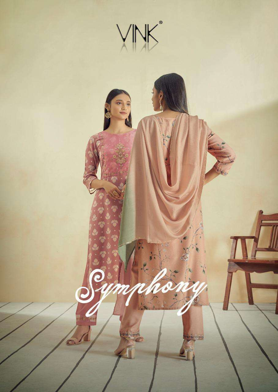 Vink Symphony Pure Muslin With Work Kurti With Pant And Dupatta collection