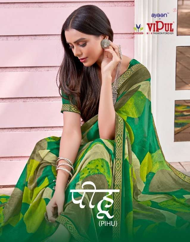 Vipul Pihu Georgette Printed With Lace Border Sarees Collection