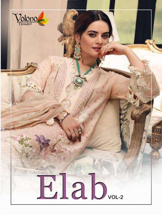 Volono Trendz Elab Vol 2 Pure Cambric With heavy embroidery Work Pakistani Suits collection