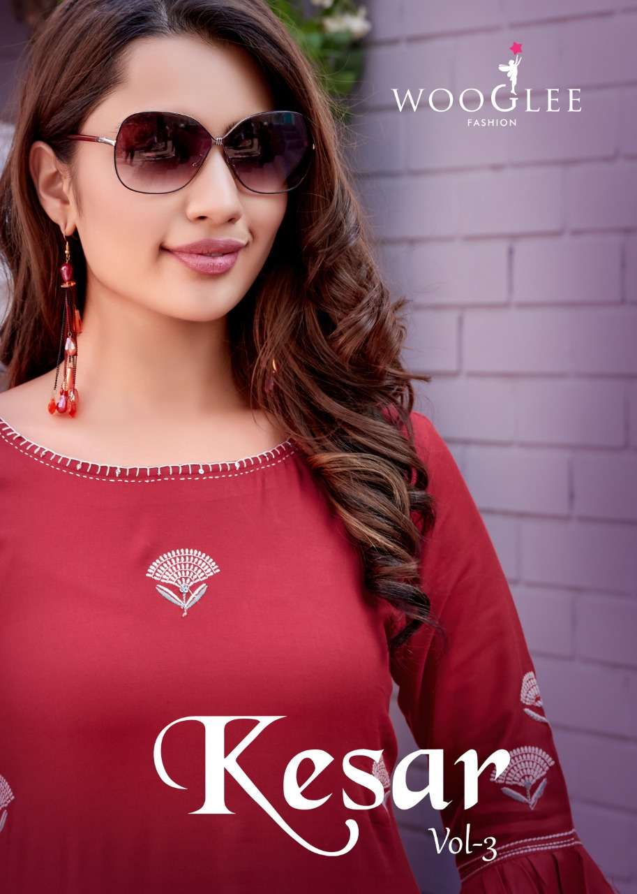 Wooglee Kesar Vol 3 Heavy rayon Embroidery Hand Work Kurti With Pant Collection