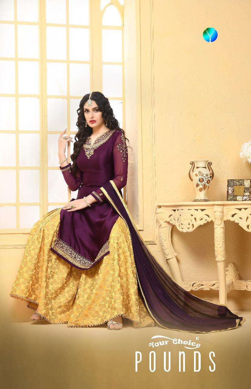 Your Choice Pounds Satin Georgette With Embroidery Work Salwar Kameez collection