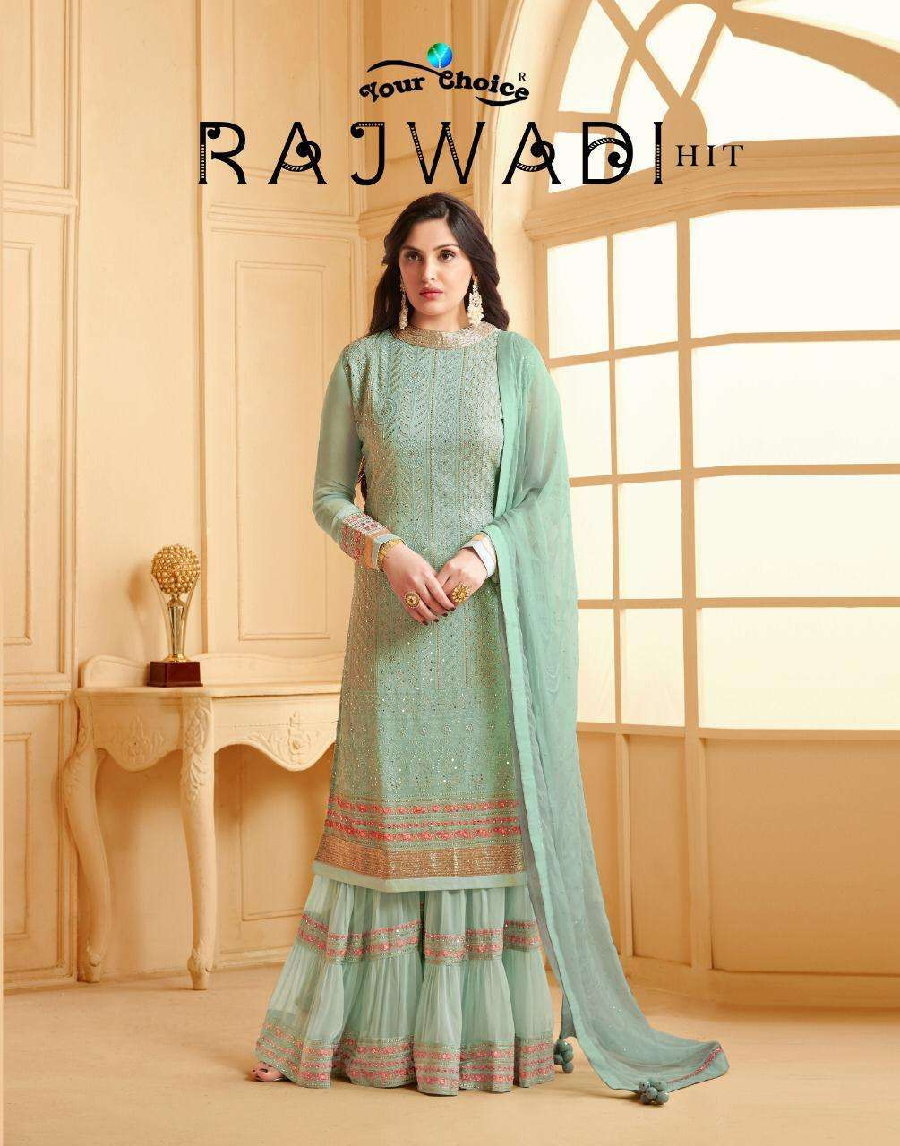 Your choice Rajwadi Hits Faux georgette With Embroidery Work Sharara Suits collection