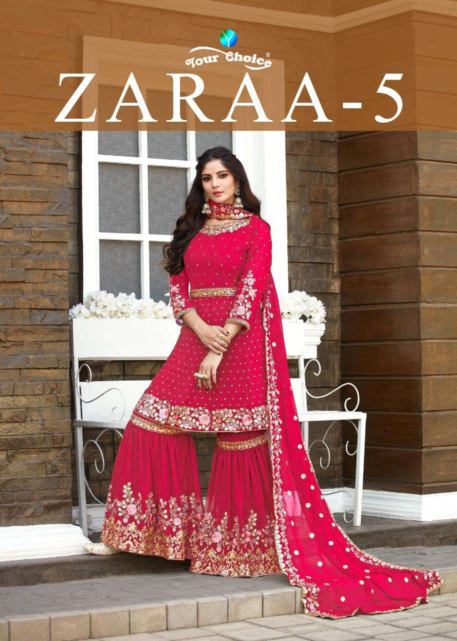 Your Choice Zaraa Vol 5 Georgette With embroidery Work sharara Suits collection