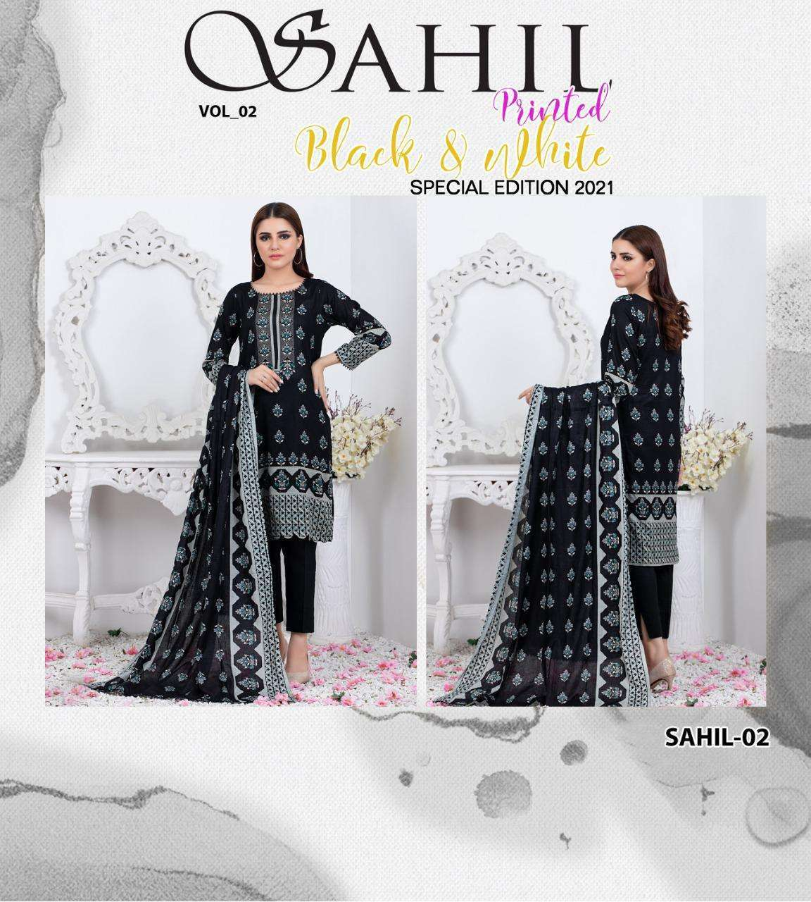 ZS Textiles Sahil Black & White Vol 2 Lawn Printed Dress Material collection