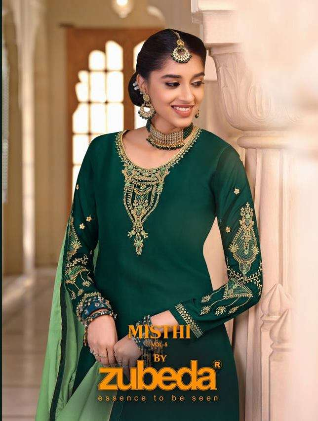Zubeda Misthi Vol 5 satin Georgette with Embroidery work Dress Material collection
