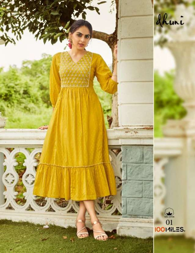 100 Miles Dhuni Cotton Embroidery work Long Gown Style Kurtis collection