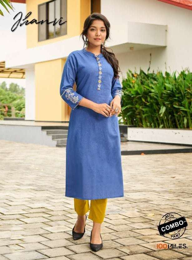 100 Miles Jhanvi Cotton With Embroidery Work Kurti With Pant collection