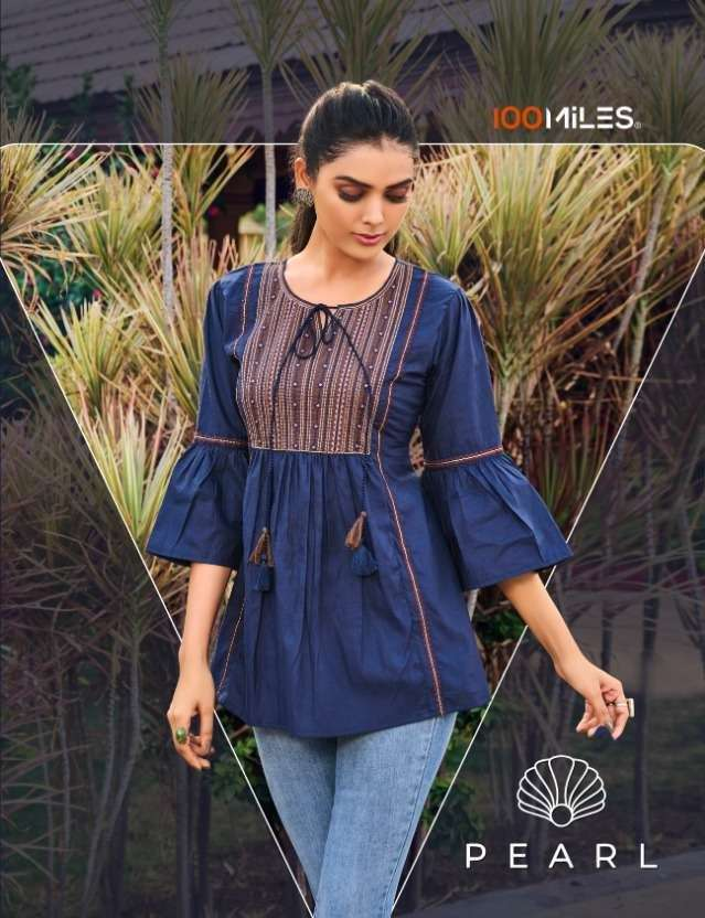 100 MILES PEARL COTTON WITH FANCY EMBROIDERY WORK SHORT WESTERN TOPS COLLECTION